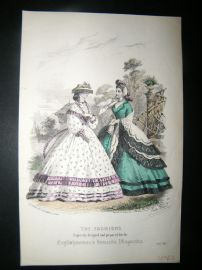 Englishwoman's Domestic Magazine 1862 Hand Col Fashion Print. July